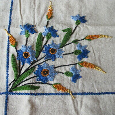 """Exquisite Antique Hand Embroidered Rectangular Floral Tablecloth 60"""" by 46"""""""