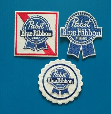 3 LOT PABST BLUE RIBBON Embroidered Iron Or Sewn On BEER Patches Free Ship