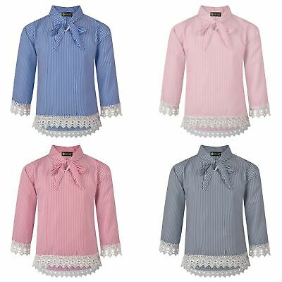 Girls Striped Pussy Bow Lace Hem Blouse Teens Contrast Details Tunic Top 3-14 Y