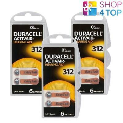 Duracell Activair Hearing Aid Batteries 312 Zinc Air 1.45V Mercury Free New