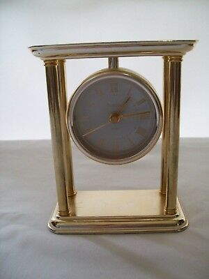 Bulova Brass Quartz Mantel / Desk Clock Model B1435