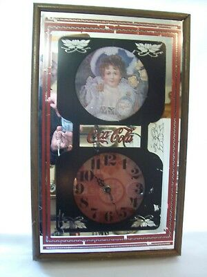 Vintage Coca-Cola Soda Fountain Sign Wall Clock 1973 Wood Frame Kienzle Movement