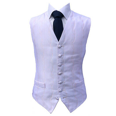 Pale Pink Scroll Swirl Wedding Waistcoat vest UK Mens And Page Boys Sizes (A25)