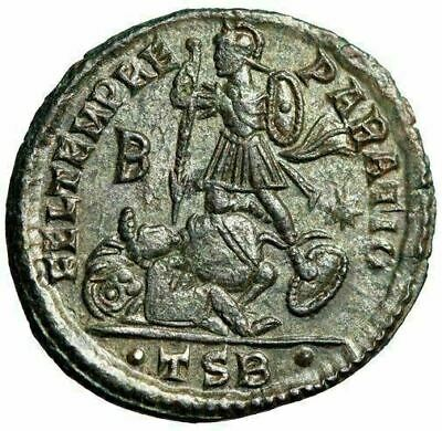 "Constantius II Silvered Centenionalis ""Spearing Horse Rider"" Thessalonica gVF"