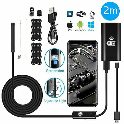 8LED 1200P WiFi Endoscope Borescope Snake Inspection Camera For iPhone Android