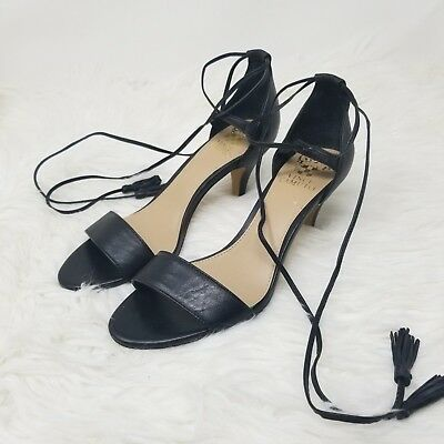 23f6d702351 Vince Camuto Sandals Womens Size 7.5 M Black Strappy Open Toe Heeled Heels