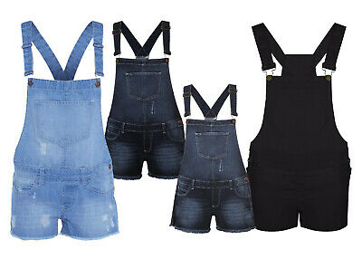 Womens Ladies Girls Dungarees Jumpsuits Stretch Denim Jeans Short Dress 8-16