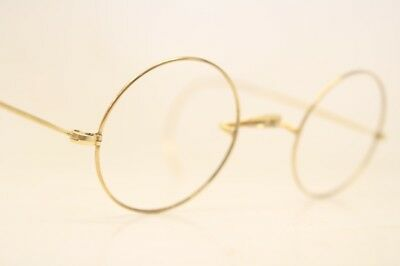 84ccfb0fa5bf WINDSOR EYEGLASSES VINTAGE Round Antique Gold   Brown Filled Lennon ...