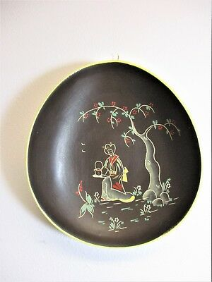 Vintage Asian Bowl Wall Hanging Handmade Hand Painted Ceramic Bent Oval Asian