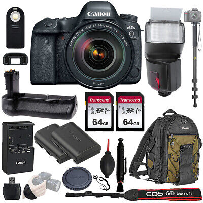 Canon EOS 6D Mark II DSLR Camera w 24-105mm USM Lens and Battery Grip 128gb Kit