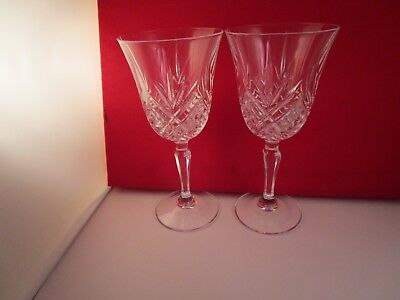 Lovely Mikasa Crystal Clear Larchmont Pair of Water Goblets Glasses