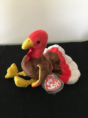 3114b093378 Ty Beanie Baby Gobbles The Turkey 1996 Retired Thanksgiving Plush Bird MWMT