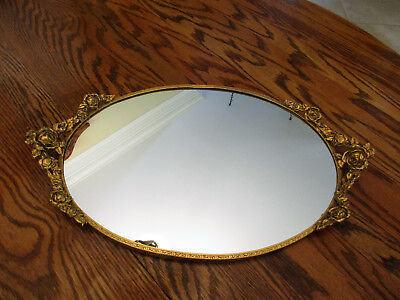 "Stunning Vintage Mirror-Vanity-24kt-Gold-Plated-Globe-Rose-Filigree 17"" x10"""