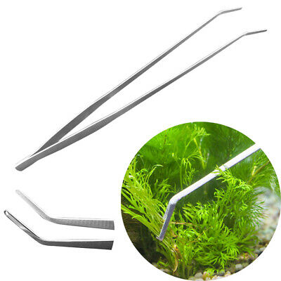 Aquarium Fish Tank Curve Plant Long Tongs Stainless Steel Tweezers 27cm 38cm