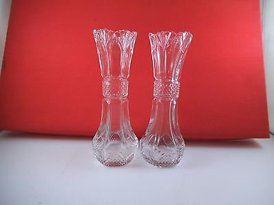 Vintage Clear Glass Gorgeous Pair of Crystal Bud Vases Diamond Fan