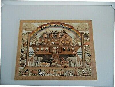 """Scherenschnitte Scissor Cut Paper """"Two by Two They Came"""" Signed Eavenson 1991"""
