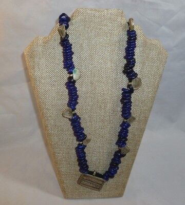 Antique Ethiopian Handmade Necklace Blue Glass Beads with Coil Siver Inserts