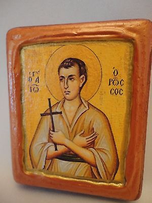 Saint John The Russian Greek Orthodox Byzantine Rose Gold Christian Icon on Wood