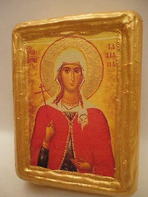 Saint Tatiana Tatiane Rare Byzantine Greek Orthodox Religious Icon on Wood Block