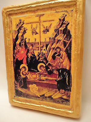 The Entombment of Jesus Rare Byzantine Eastern Orthodox Icon Gold Religious Art