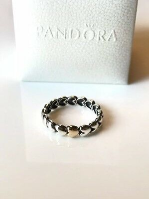 """a8aad2ad1 Pandora Sterling & Gold """"Filled With Love"""" Hearts Stackable Ring Band  RETIRED 9"""