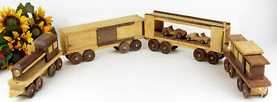 VINTAGE HANDCRAFTED HANDMADE Solid Wood 6 Piece Large Scale Train Set