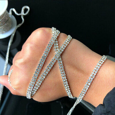 1 Yard 2 Row Cystal Rhinestone Trim Close Cup Silver Chain Claw Jewelry Crafts