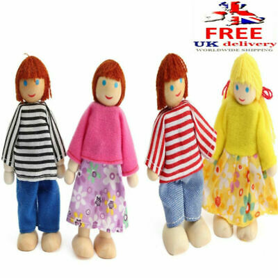 4 PCS Wooden Dolls Pretend Play Set Family For Children Kids Figure Toy Gift