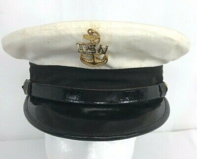 WWII US Navy Chiefs Dress Hat - Named