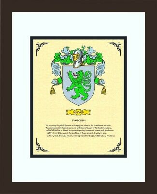 HERALDRY COAT OF ARMS ~ NIEVES FAMILY CREST ~ FRAMED