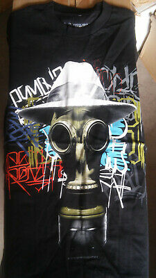 Black Short Sleeve T-shirt orange Trim Considerate The Psycho Realm Gas Mask