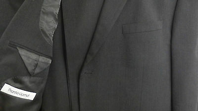 PRONTO UOMO 2B charcoal medium weight flat-front slim fit wool suit 42R w 36