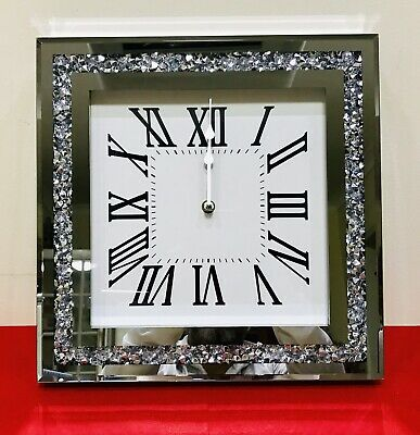 Silver Crushed Diamond Mirrored Diamante Clock Crystal Home, Living Bedroom Gift