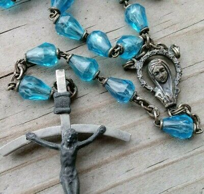 Old Ornate Vintage Faceted Blue Cone Crystal Catholic Antique Rosary