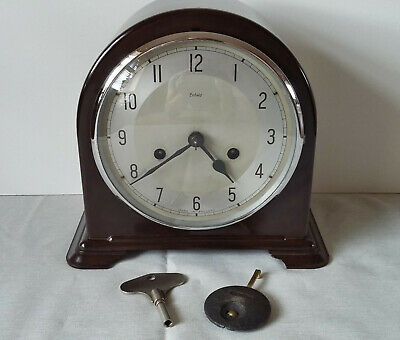 Vintage 1950's Enfield Brown Bakelite Striking Mantel Clock With Pendulum & Key
