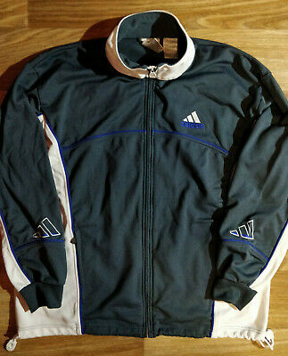 Adidas 90's Vintage Mens Tracksuit Top Jacket Big Logo Gray White