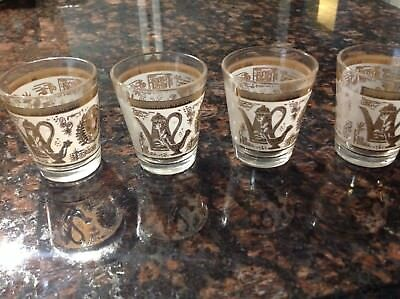 4 Vintage White and Gold Pattern Shot Glasses