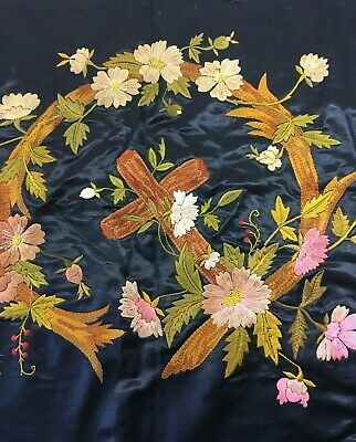 Antique Embroidery Black Silk Religious Cross Floral