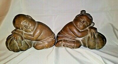 "Pair Antique/Vtg Carved Mahogany Slumbering Wood Bookends Midcentury  9.5"" x 7"""