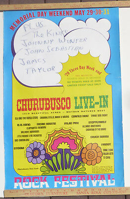 CSNY Steppenwolf Kinks JohnnyWinter ChurubuscoNY RockFestivalConcertPoster 1970