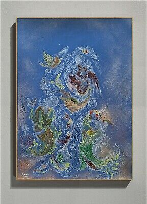 Original Modern Watercolor & Acrylic Miniature Hand Painted Persian Art by Parme