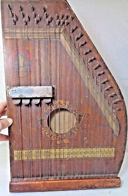 Rare Antique Mandolin Lap Harp with image of Statue of Liberty Circa late 1800's