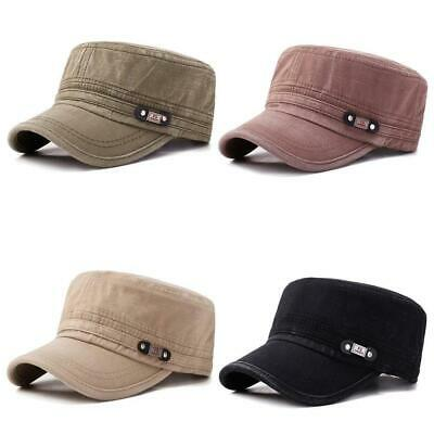 Mens Washed-Cotton Flat Top Hat Outdoor Sunscreen Military Army Peaked Dad Caps