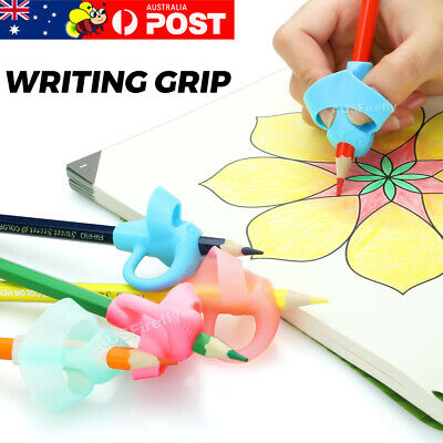 4x 2-finger Grip Silicone Kid Baby Pen Pencil Holder Help Learning Writing Tool