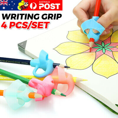 4x Children Pencil Holder Pen Writing Aid Grip Posture Tools Correction OZ