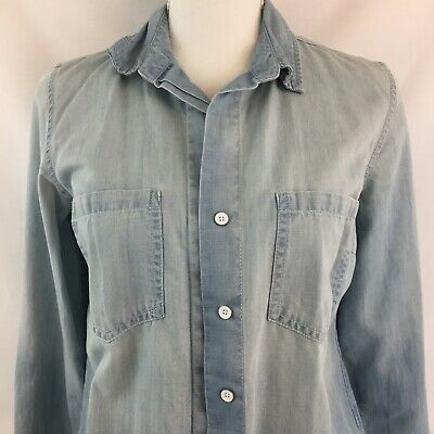 068d8ba4 Tommy Hilfiger Womens Size S/P Button Down Chambray Blue Shirt Long Sleeve