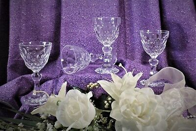 Lead Crystal Aperitif Cordial Wine Stems - Set of 4   4-Ounce Honeycomb Pattern