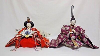 Vintage Japanese Doll [ Hina ] Pair Showa period Kimono w/Accessories From Japan