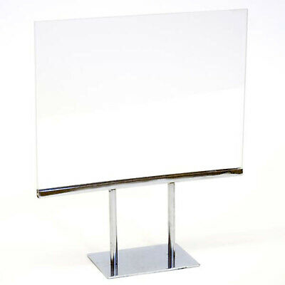 "Acrylic Countertop Sign Display Holder Chrome Base 11""W x 8-1/2""H Lot of 18 New"