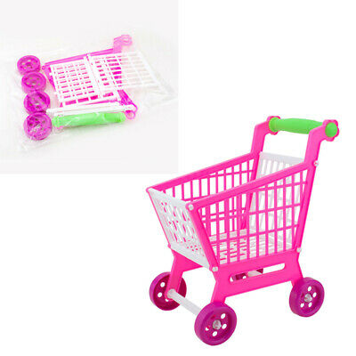 1x Simulation Pink Plastic Shopping Trolley Cart Children Role Play Fun Toy